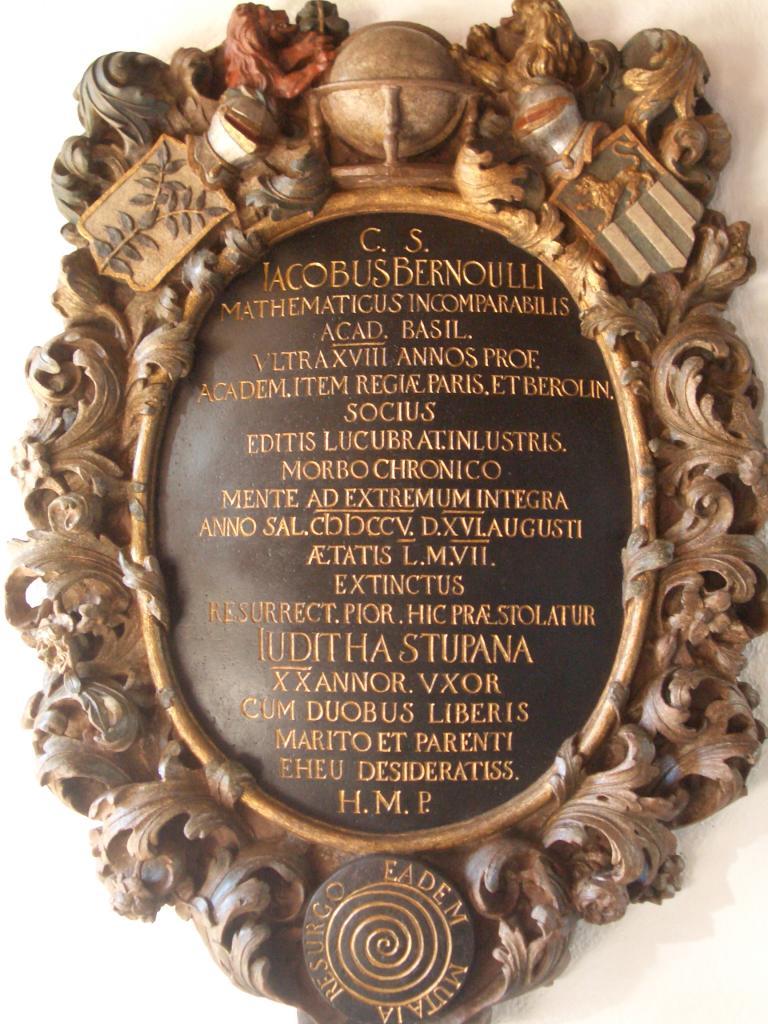 """Grabstein von Jakob Bernoulli mit Inschrift """"eadem mutata resurgo"""" (Bildquelle: Wladyslaw Sojka)"""