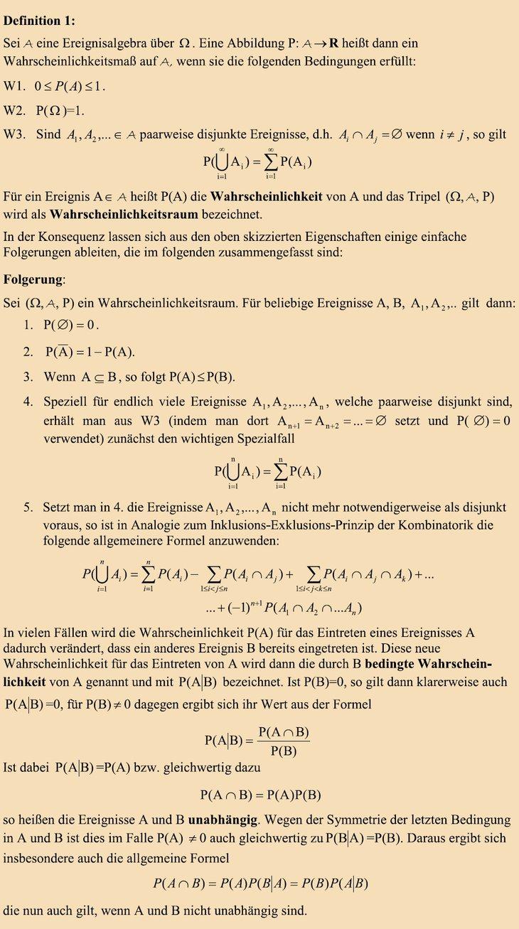 Kolmogorow'sches Axiomensystem [Quelle: Romeike, Frank (2007): Andrei Nikolajewitsch Kolmogorow (Köpfe der Risk-Community), in: RISIKO MANAGER, Ausgabe 22/2007, Seite 27-28]